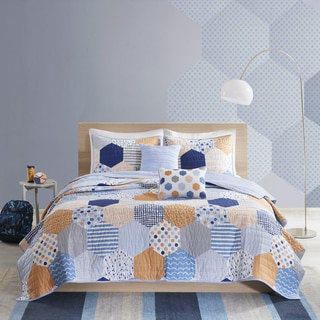Urban Habitat Kids Miles Blue/Orange Cotton Printed 5-piece Coverlet Set