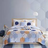 Urban Habitat Kids Miles Blue/Orange Cotton Printed 5-piece Coverlet Set