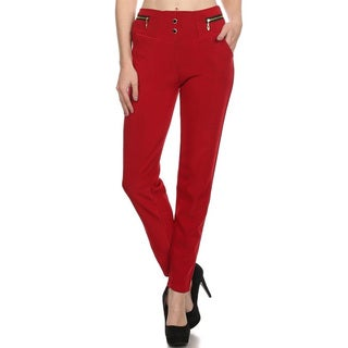Women's Solid Red Trouser Pants