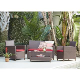 COSCO Outdoor Living 4-piece Malmo Brown and Red Resin Wicker Deep Seating Patio Conversation Set