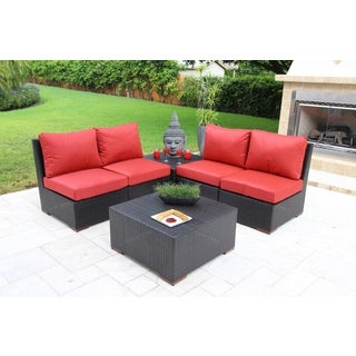 Andover Sectional Wicker and Olefin Fabric Seating Set (6-piece)