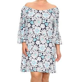 Women's Multicolored Floral Print Rayon Blend Plus Size Dress