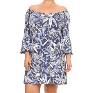 Women's Multicolored Spandex and Rayon Plus-size Botanical Dress