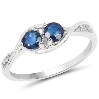 Malaika 14k White Gold 5/8ct TGW Blue Sapphire and White Diamond Accent Ring