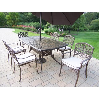 Casselton Outdoor Dining Set with Table, 6 Cushioned Chairs, and Brown Umbrella with Stand