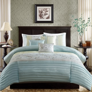Madison Park Belle Aqua 6 Piece Embroidered Duvet Cover Set
