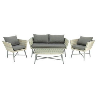 Studio 350 Aluminum PE Wicker Sofa Set of 4, 62 inches wide, 32 inches high