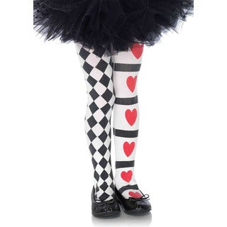 Leg Avenue Girls' Harlequin and Heart Black and White Nylon Tights