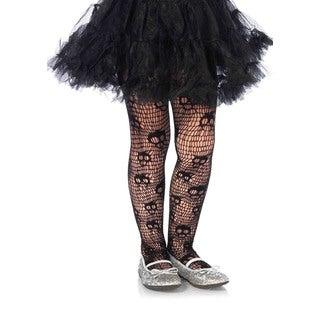Leg Avenue Girls' Skull Striped Black Nylon and Spandex Net Pantyhose