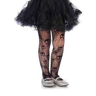 Leg Avenue Girls' Skull Striped Black Nylon and Spandex Net Pantyhose