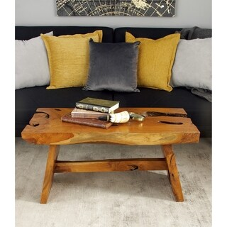 Rustic Cross-Sectional Teak Wood Bench by Studio 350