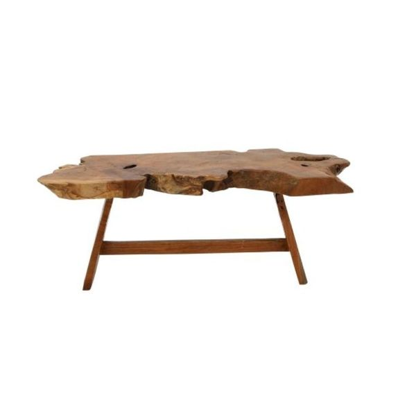 Rustic Cross Sectional Teak Wood Bench By Studio 350