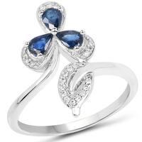 Malaika 14k White Gold 3/5ct TGW Blue Sapphire and White Diamond Accent Ring