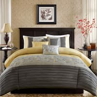 Madison Park Belle Yellow 6 Piece Embroidered Duvet Cover Set