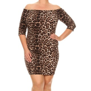 Women's Leopard Plus-size Bodycon Dress
