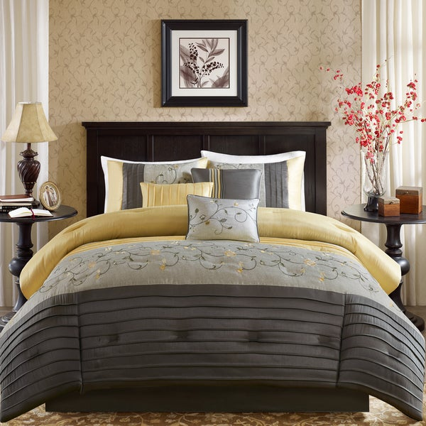 Madison Park Belle Yellow 7 Piece Embroidered Comforter Set