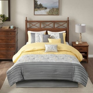 Link to Madison Park Belle Yellow 7 Piece Embroidered Comforter Set Similar Items in Comforter Sets