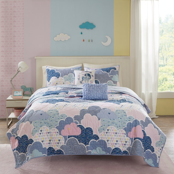 Urban Habitat Kids Bliss Blue Cotton Printed Coverlet Set