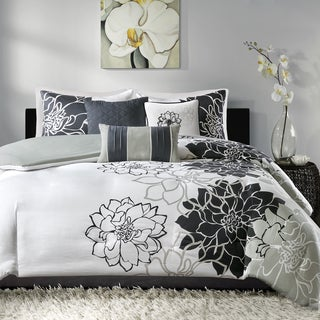 Madison Park Brianna Black Cotton Sateen Printed 6 Piece Duvet Cover Set