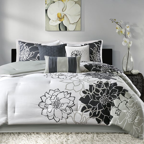 Madison Park Brianna Black Cotton Sateen Printed 7 Piece Comforter Set
