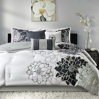 Madison Park Brianna Black Cotton Sateen Printed 7 Piece Comforter Set