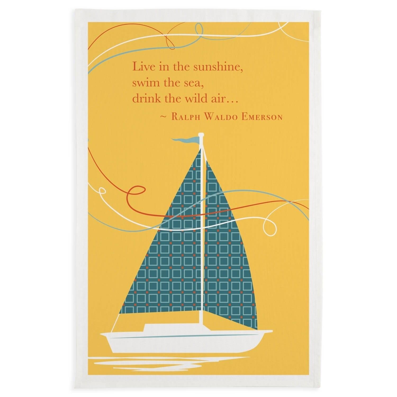 Sunshine Sailboat Printed Dishtowel Set of 3, Multi