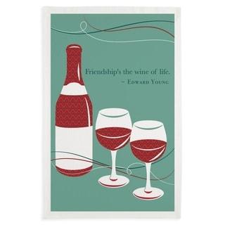 Friendship Wine Printed Dishtowel Set of 3