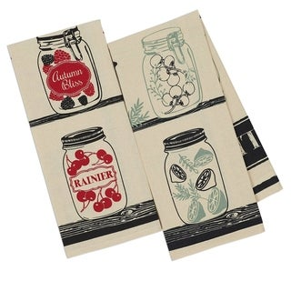 Pickles and Preserves Multicolor Cotton Printed Dishtowels (Pack of 4, 2 of Each Print)