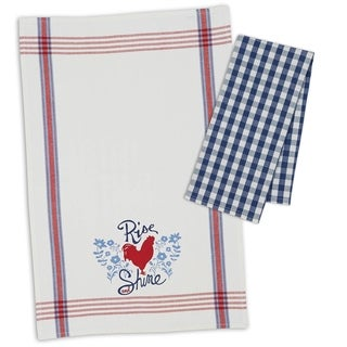Rooster Rise & Shine Dishtowel Set of 4- Includes 2 print & 2 check