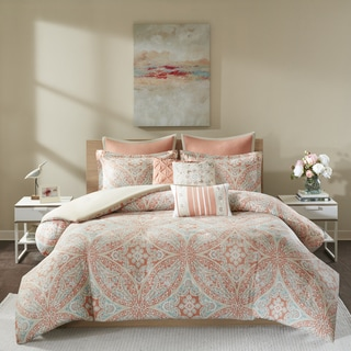 Madison Park Addison Coral 8 Piece Cotton Duvet Cover Set
