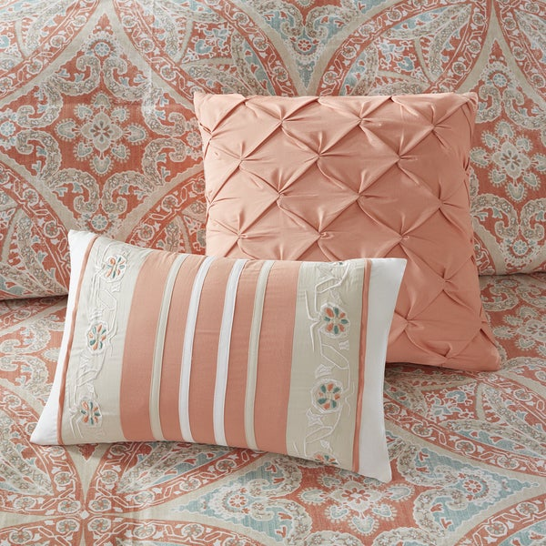Madison Park Addison Coral 9 Piece Cotton Comforter Set   Free Shipping  Today   Overstock.com   20773375