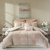 Palm Canyon Anzuelo Coral 9-piece Cotton Comforter Set