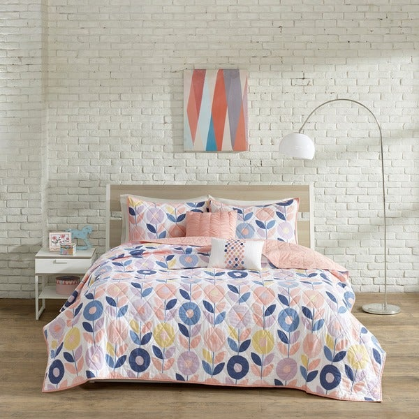 Urban Habitat Kids Millie Peach Cotton Printed 5-piece Coverlet Set