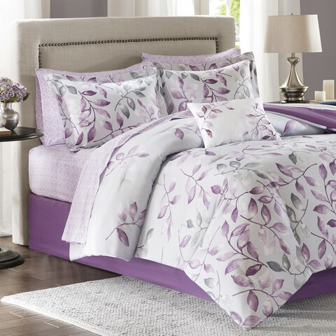 Madison Park Essentials Eden Purple Printed Complete Comforter and Cotton Sheet Set