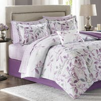 Madison Park Essentials Eden Purple Printed Complete Comforter and Cotton Sheet Se