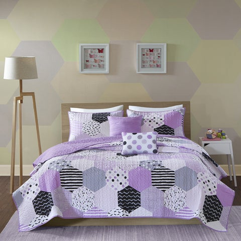 Urban Habitat Kids Evie Purple Cotton Printed 5-piece Coverlet Set