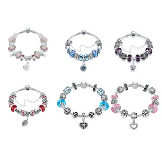 Hakbaho Jewelry Trendy Omega Glass Charm Bracelets