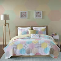 Urban Habitat Kids Evie Yellow/ Pink Cotton Printed 5-piece Coverlet Set