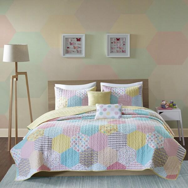 Urban Habitat Kids Evie Yellow/ Pink Cotton Printed 5-piece Coverlet Set