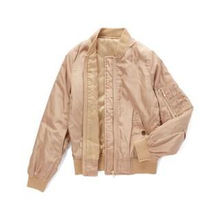 Spicy Mix Girls' Journee Pink Zippered Bomber Jacket