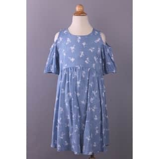 Spicy Mix Girls' Elora Blue Rayon Cold-shoulder Floral-printed Draped Dress|https://ak1.ostkcdn.com/images/products/14174440/P20773368.jpg?impolicy=medium
