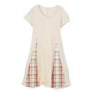 Spicy Mix Girls' Ayla Contrast Lace Plaid Panel Tunic A-line Dress