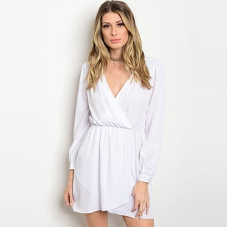 Shop The Trends Women's Long-sleeved Smock-waist Surplice Front-wrap Dress
