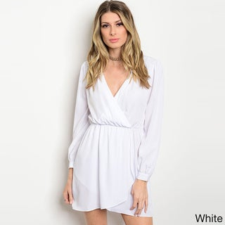 Shop The Trends Women's Long-sleeved Smock-waist Surplice Front-wrap Dress