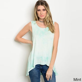 Shop The Trends Women's Rayon and Spandex Sleeveless Jersey-knit Scoop-neck Tie-dye-print Tank Top