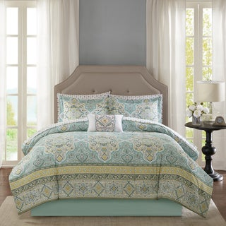 Madison Park Essentials Caitlin Aqua Complete Comforter and Sheet Set