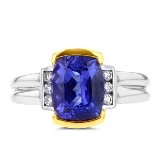 La Vita Vital 18k Two-Tone Gold Tanzanite and 1/8ct TDW White Diamond Ring