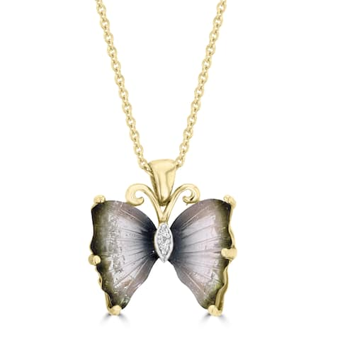 La Vita Vital 14k Yellow Gold Natural Tourmaline and White Diamond Accent Butterfly Necklace - Green