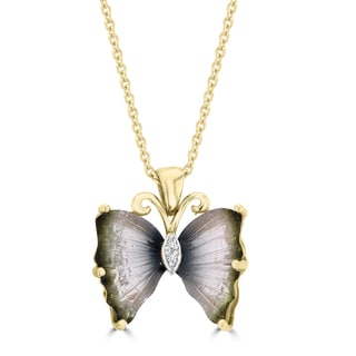 La Vita Vital 14k Yellow Gold Natural Tourmaline and White Diamond Accent Butterfly Necklace