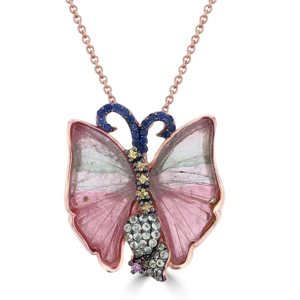 bf1ded25d724 La Vita Vital 14k Rose Gold Natural Tourmaline and Multi-color Sapphire  Butterfly Necklace